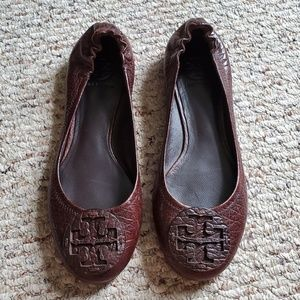 Tory Burch Dark Brown Leather Reva Flats Size 8.5